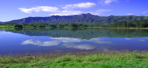 Scenic view of mountains and water