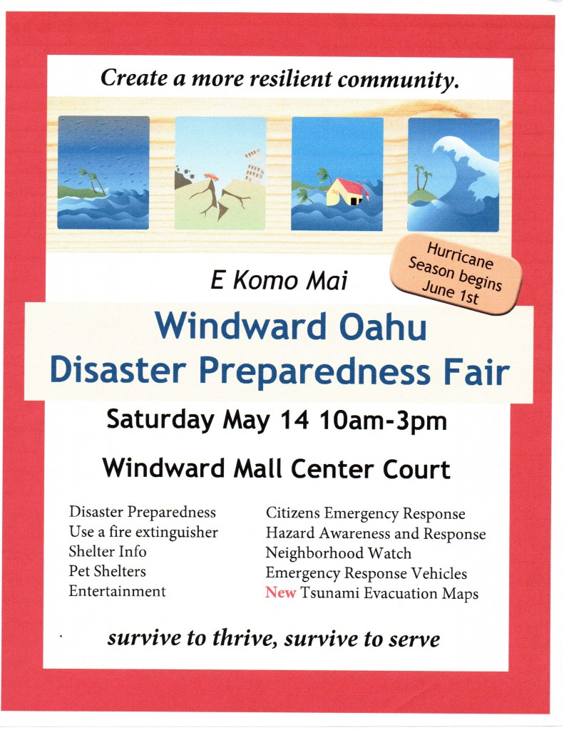 Windward Oahu Disaster Preparedness Fair Tomorrow (5/14/16) at Windward Mall post thumbnail