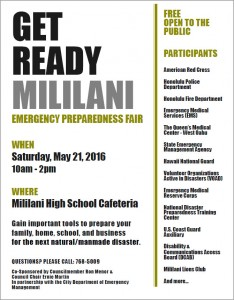 "Attend the ""Get Ready Mililani Emergency Preparedness Fair"" Tomorrow at Mililani High School post thumbnail"