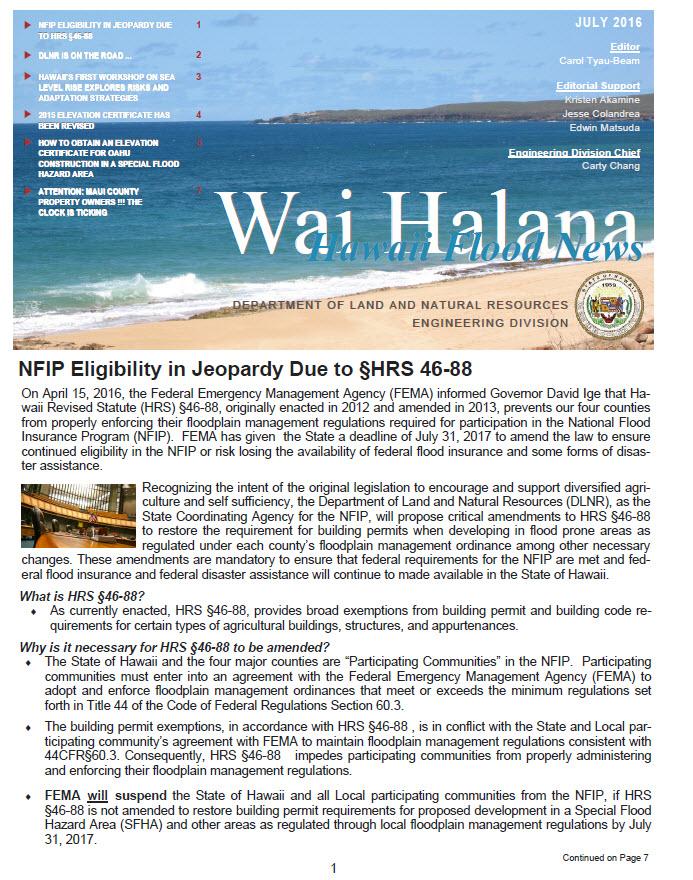 Engineering Division National Flood Insurance Program Wai Halana